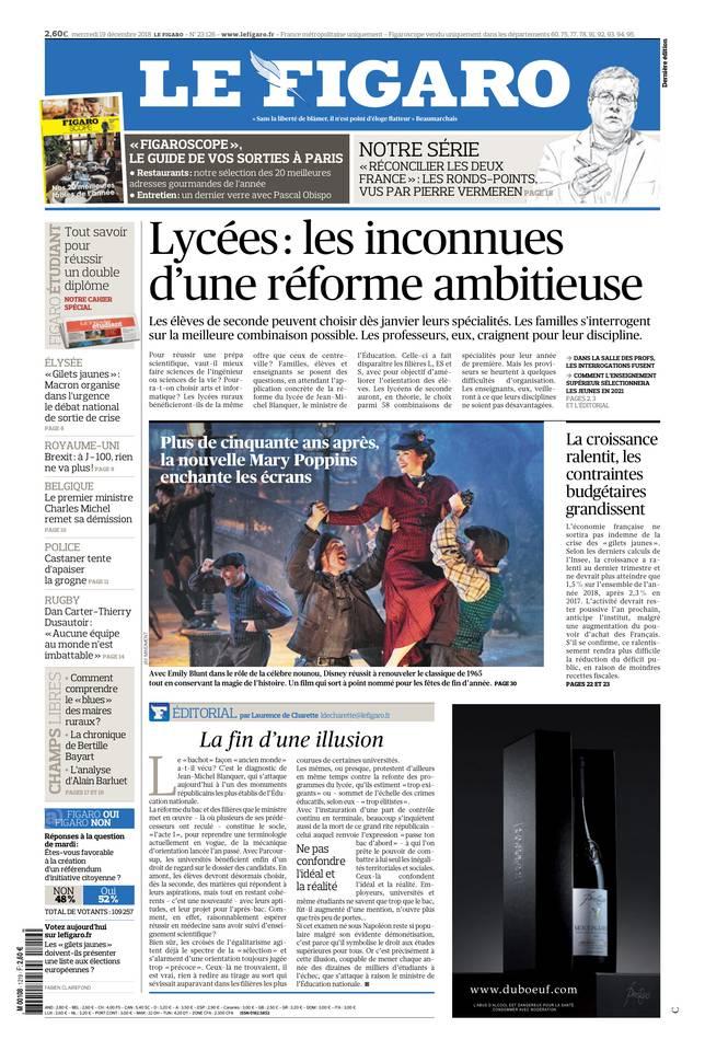 Le Figaro du 19 décembre 2018 à télécharger sur iPad