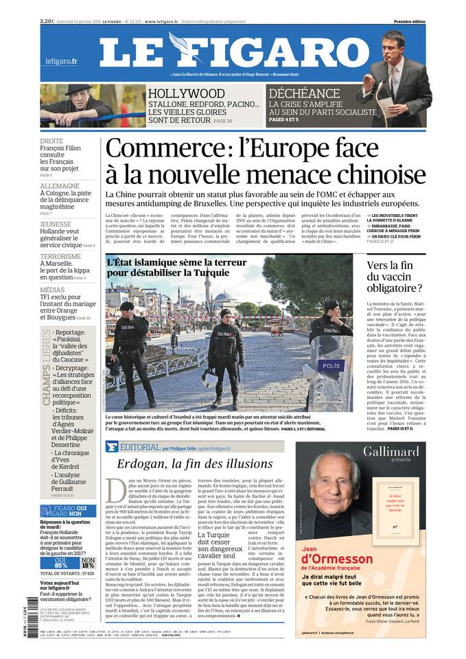Le Figaro Du Mercredi 13 Janvier 2016