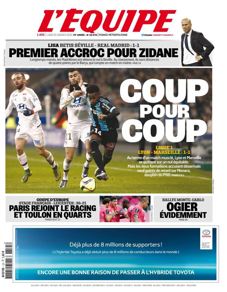 L'Équipe du lundi 25 janvier 2016