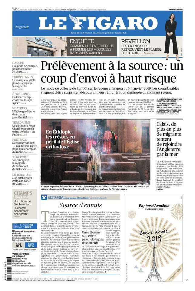 Le Figaro du 28 décembre 2018 à télécharger sur iPad