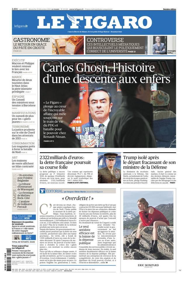 Le Figaro du 22 décembre 2018 à télécharger sur iPad