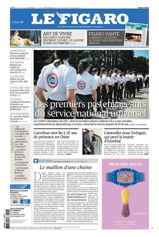 Le Figaro du 24 juin 2019 à télécharger sur iPad
