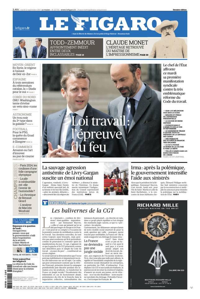 Le Figaro du 12 septembre 2017 à télécharger sur iPad