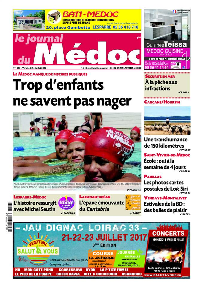 Le Journal du Médoc du 13 juillet 2017 à télécharger sur iPad