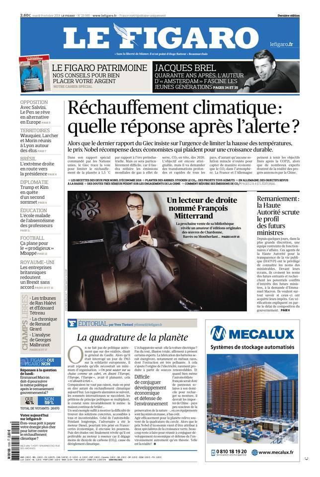 Le Figaro du 09 octobre 2018 à télécharger sur iPad