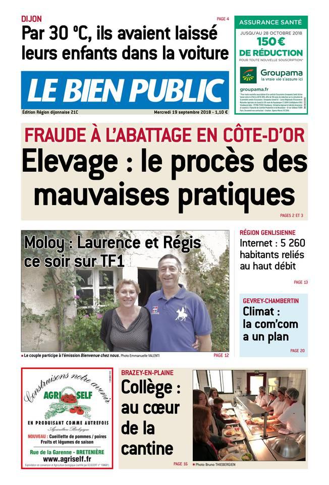 Le Bien Public - Edition de la Région Dijonnaise du 19 septembre 2018