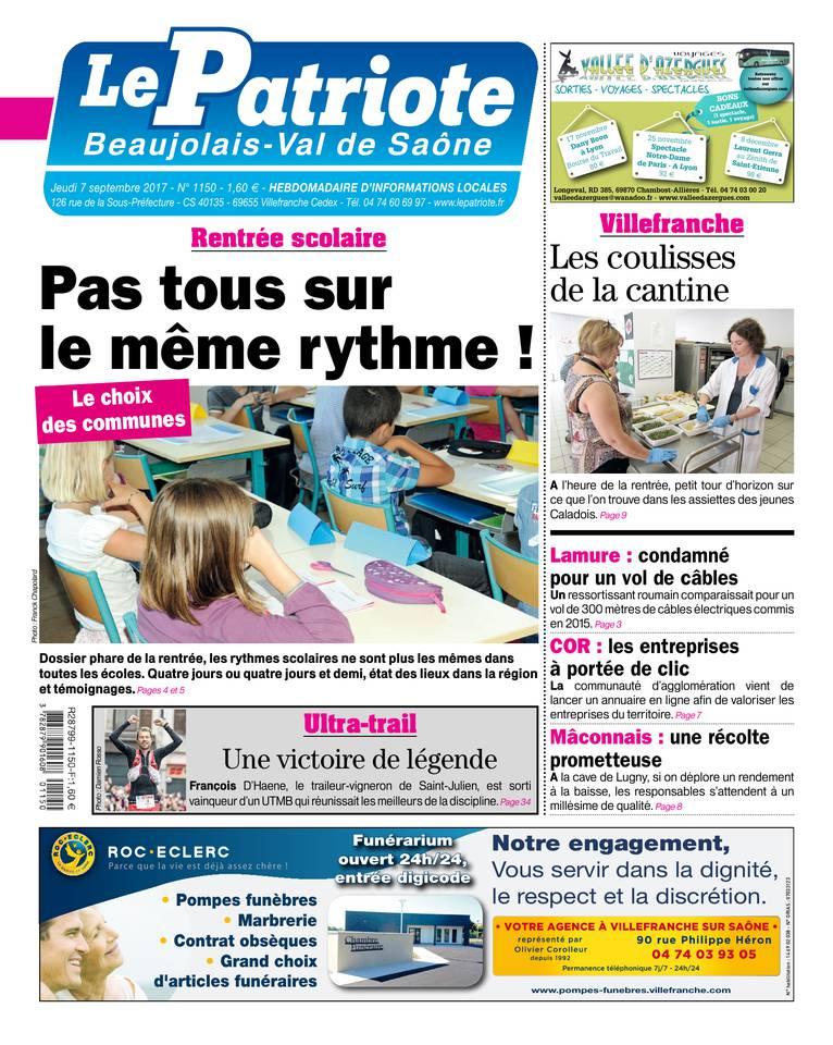 Le Patriote Beaujolais du 07 septembre 2017 à télécharger sur iPad