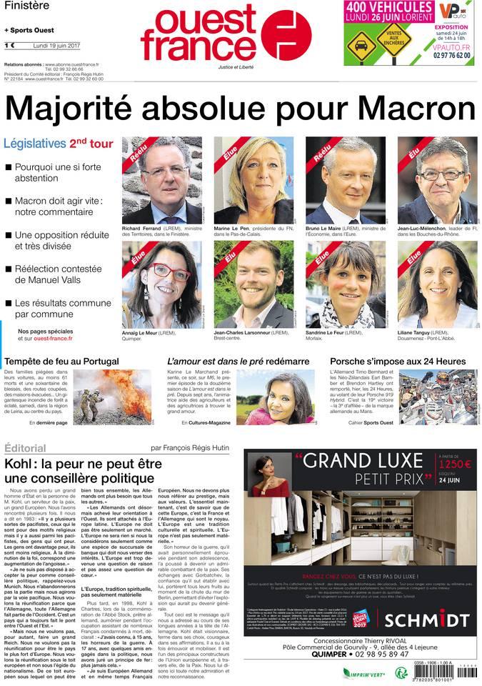 Ouest-France du 19 juin 2017 à télécharger sur iPad