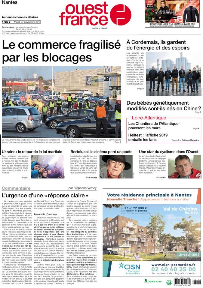 Ouest-France du 27 novembre 2018 à télécharger sur iPad