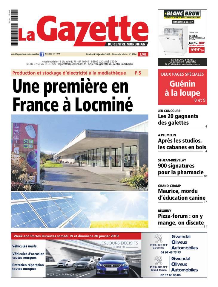 La Gazette du centre Morbihan du 18 janvier 2019