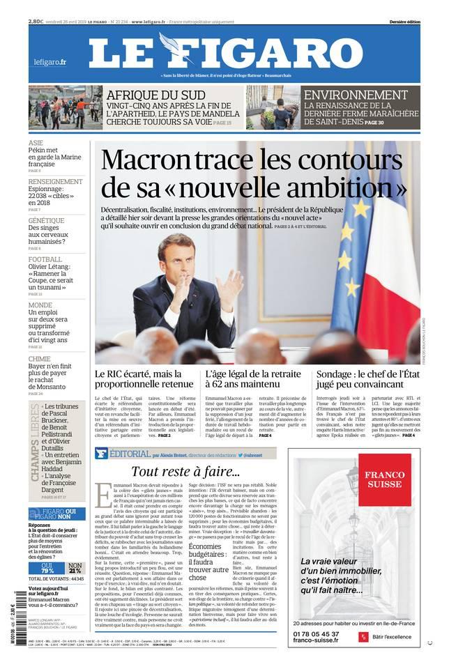 Le Figaro du 26 avril 2019 à télécharger sur iPad