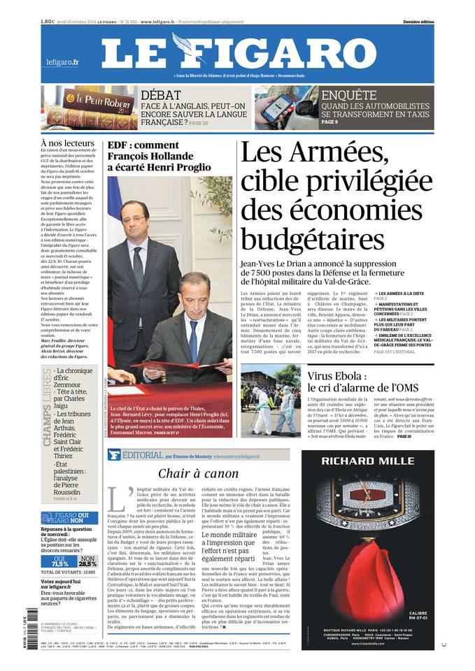 Le Figaro du 16 octobre 2014 à télécharger sur iPad