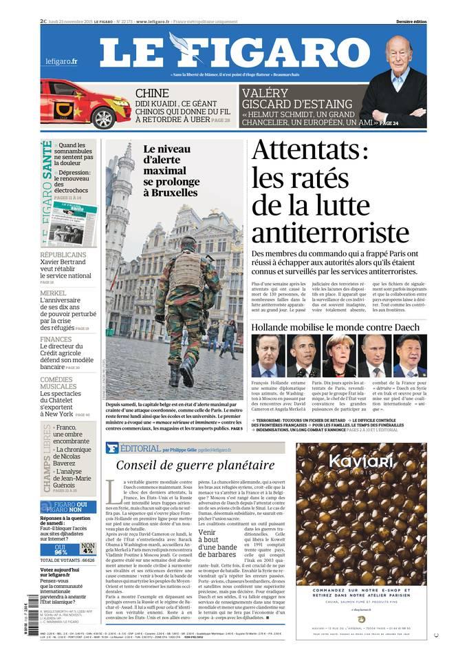 Le Figaro Du lundi 23 Novembre 2015