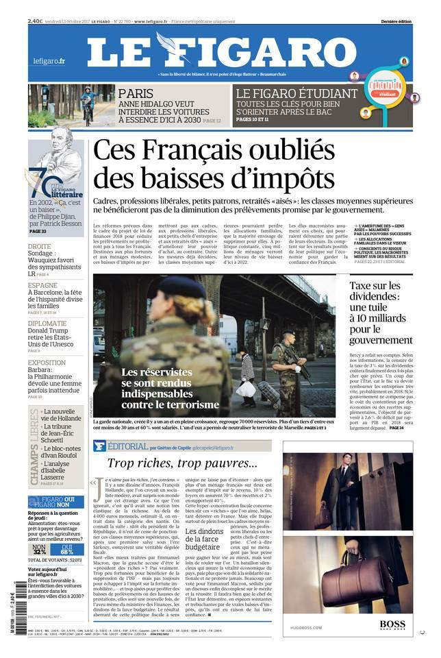 Le Figaro du 13 octobre 2017 à télécharger sur iPad