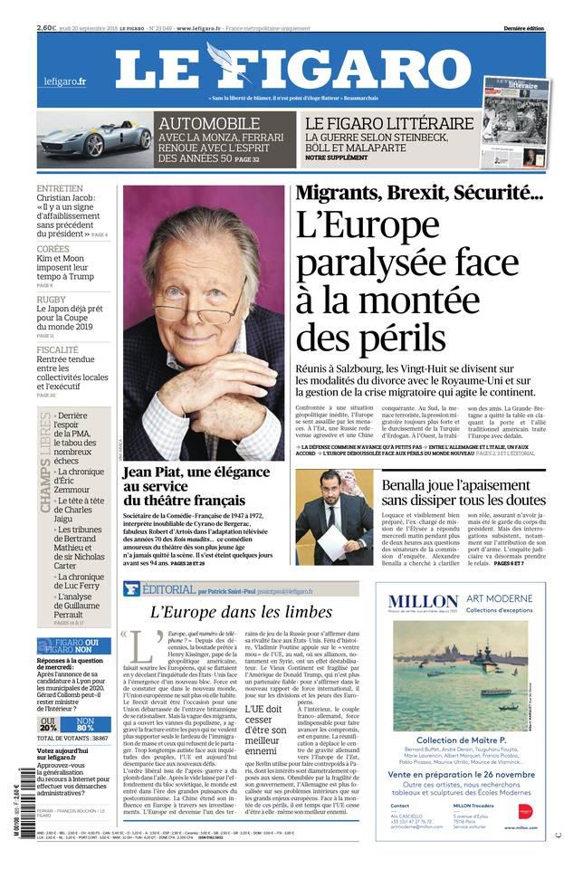 Le Figaro du 20 septembre 2018 à télécharger sur iPad